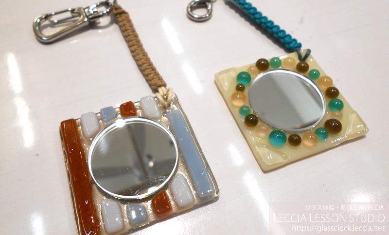 ガラスフュージング作品 手鏡 ガラス体験・制作工房LECCIA【愛知・名古屋】