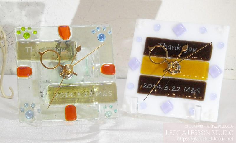 ガラスフュージング作品ガラス時計2 ガラス体験・制作工房レチア【愛知・名古屋】
