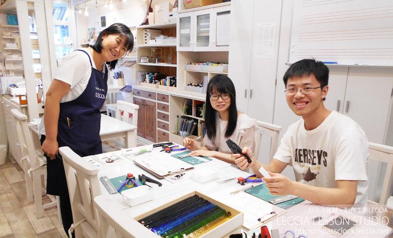 ガラスフュージング作品 ねこ時計2 ガラス体験・制作工房LECCIA【愛知・名古屋】