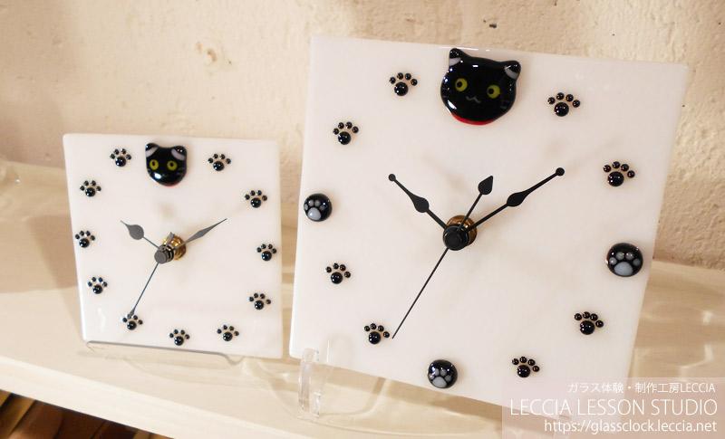 黒猫のガラス時計 ガラス体験・制作工房LECCIA【愛知・名古屋】