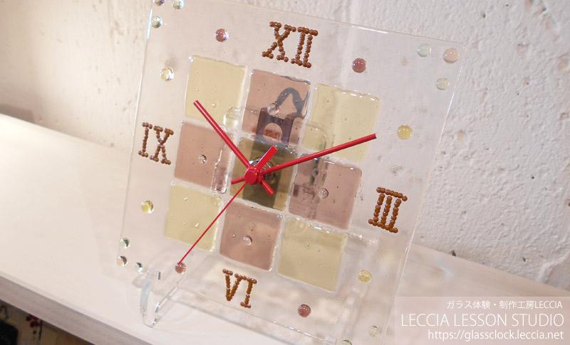 両親贈呈ギフト・手作りガラス時計2 ガラス工房レチア