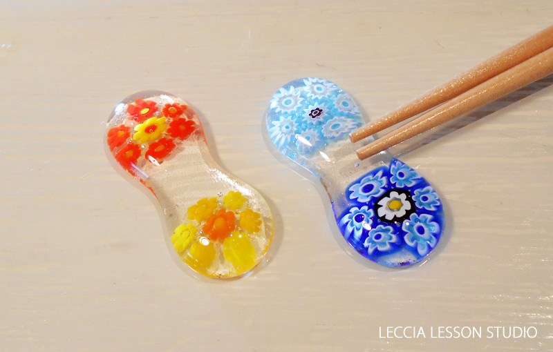 H.S さん、K.O さん ガラスフュージング体験作品 ヴェネチアン箸置き