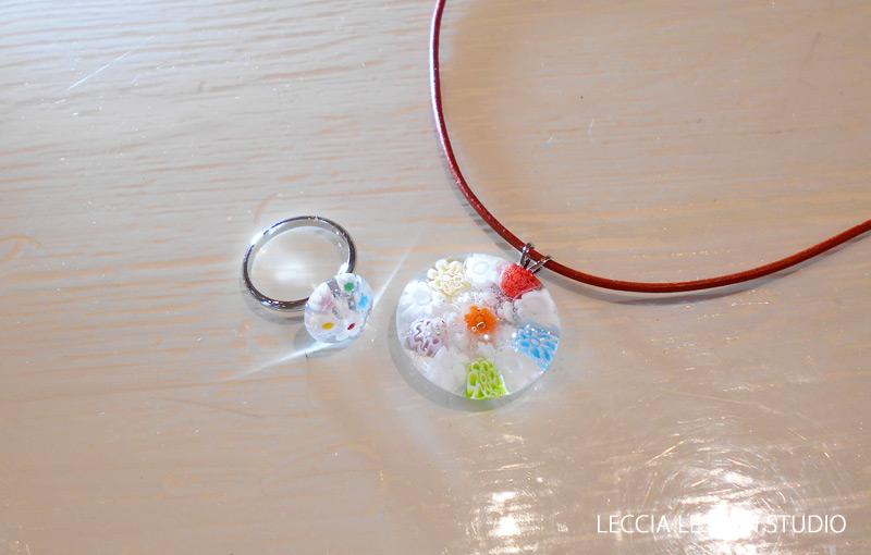 まりれお さん、 makomako さん ガラスフュージング体験作品 ヴェネチアンガラス