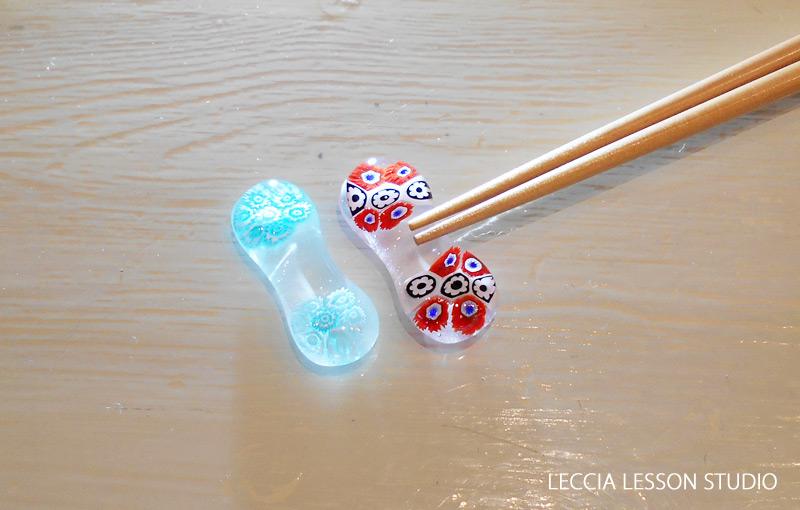 Mino さん ガラスフュージング体験作品 ヴェネチアン箸置き